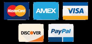 Mastercard - Amex - Visa -Discover - Paypal