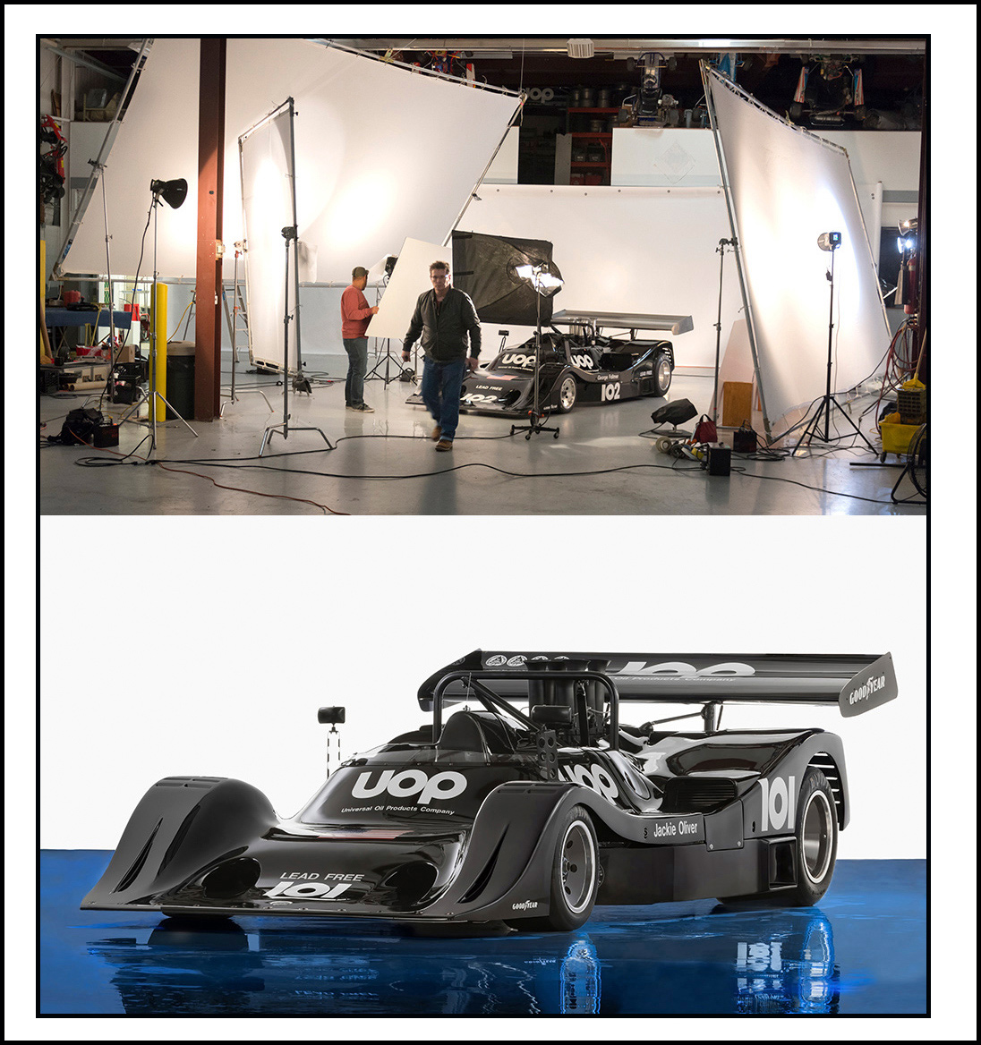 race car photography in a photo studio