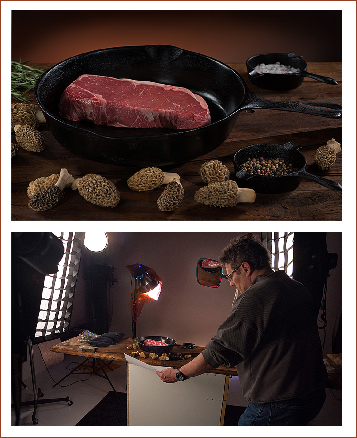 steak being photographed for restaurant hotel