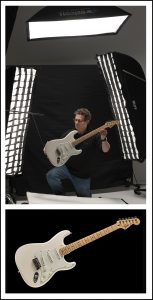 photo session of a guitar Fender Stratocaster
