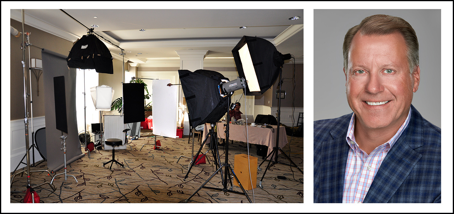 headshot session in a hotel conference room