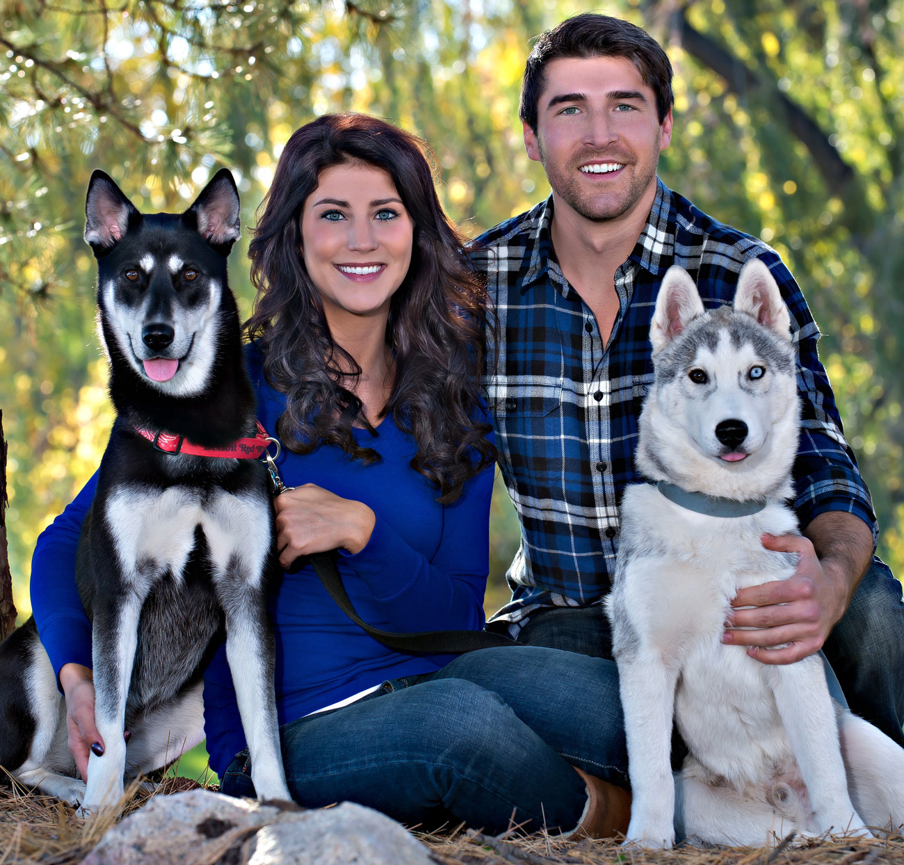 photo of family and dogs pets