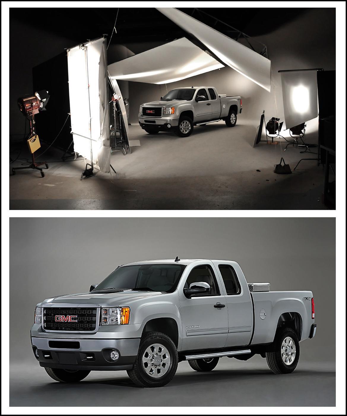 photography of GM trucks