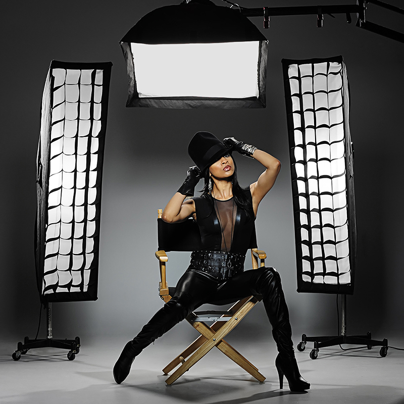fashion model with studio photography lights
