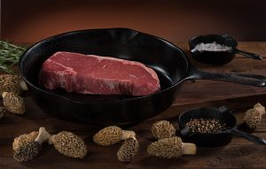 food photography steak mushrooms