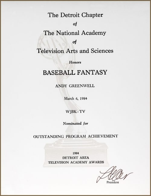 Outstanding Program Achievement Emmy Nomination For Baseball Fantasy