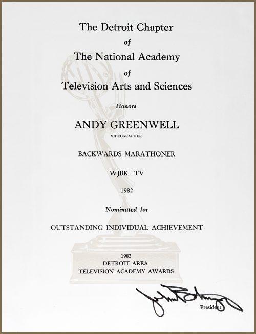 Outstanding Individual Achievement Emmy Nomination for Backwards Marathoner
