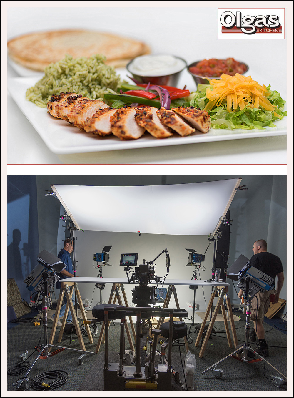 photo shoot of food for a restaurant menu advertising