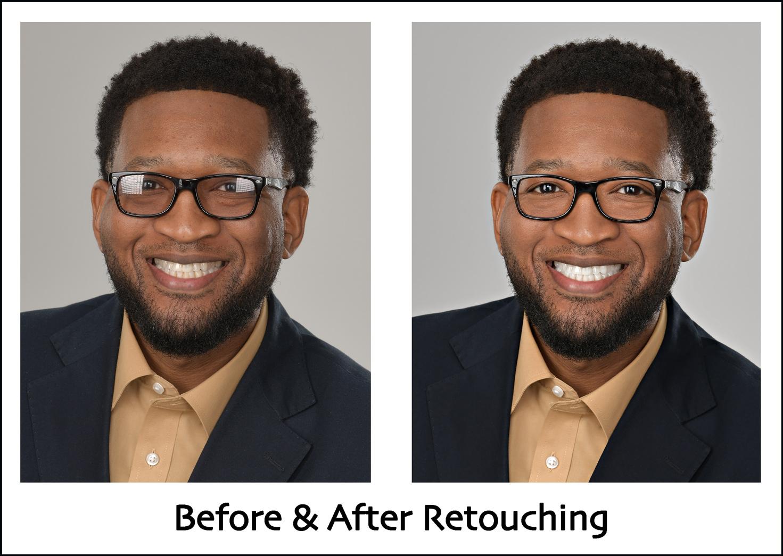 eyeglass glare removal headshot