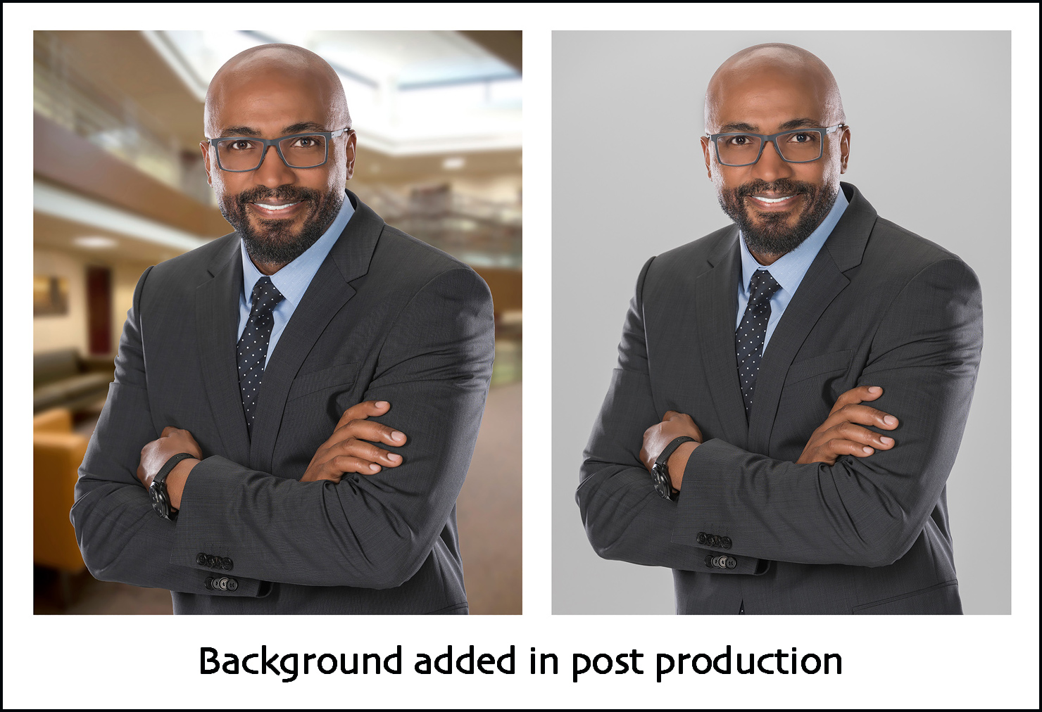 photography composite of business executive
