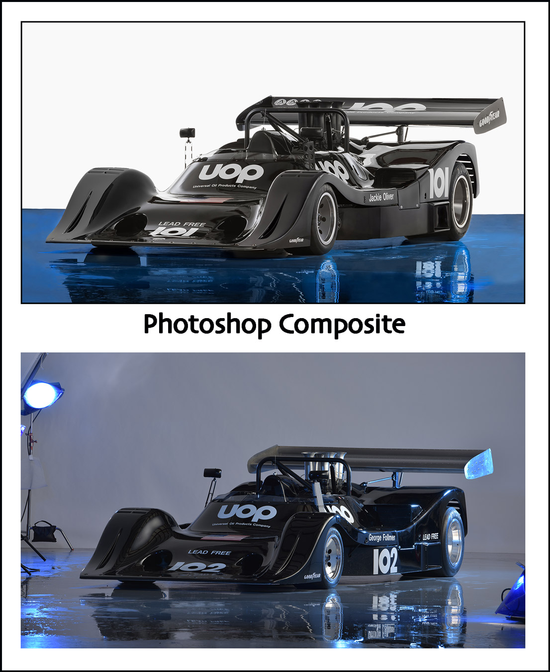race car in photography studio