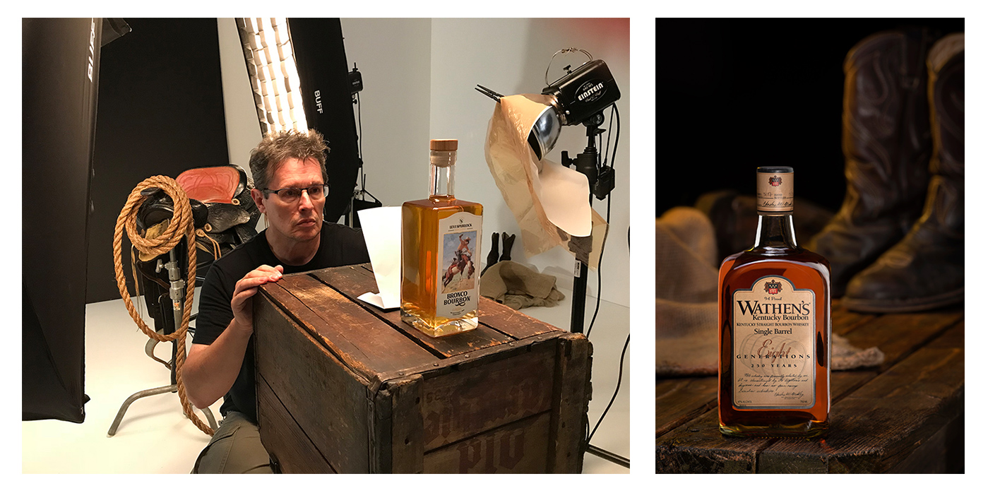 photo shoot for bourbon liquor spirits