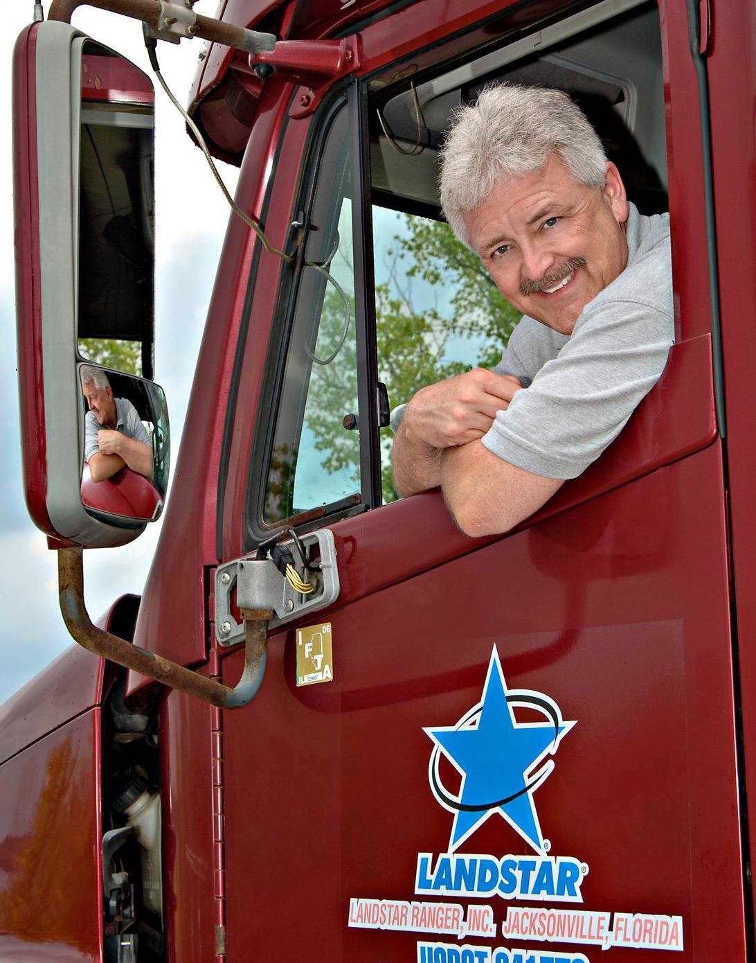 headshot of a truck driver semi truck