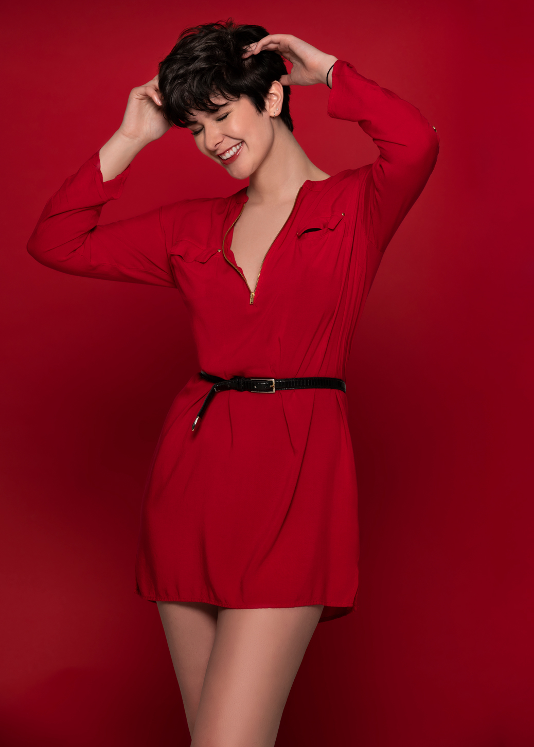 fashion model wearing a red dress