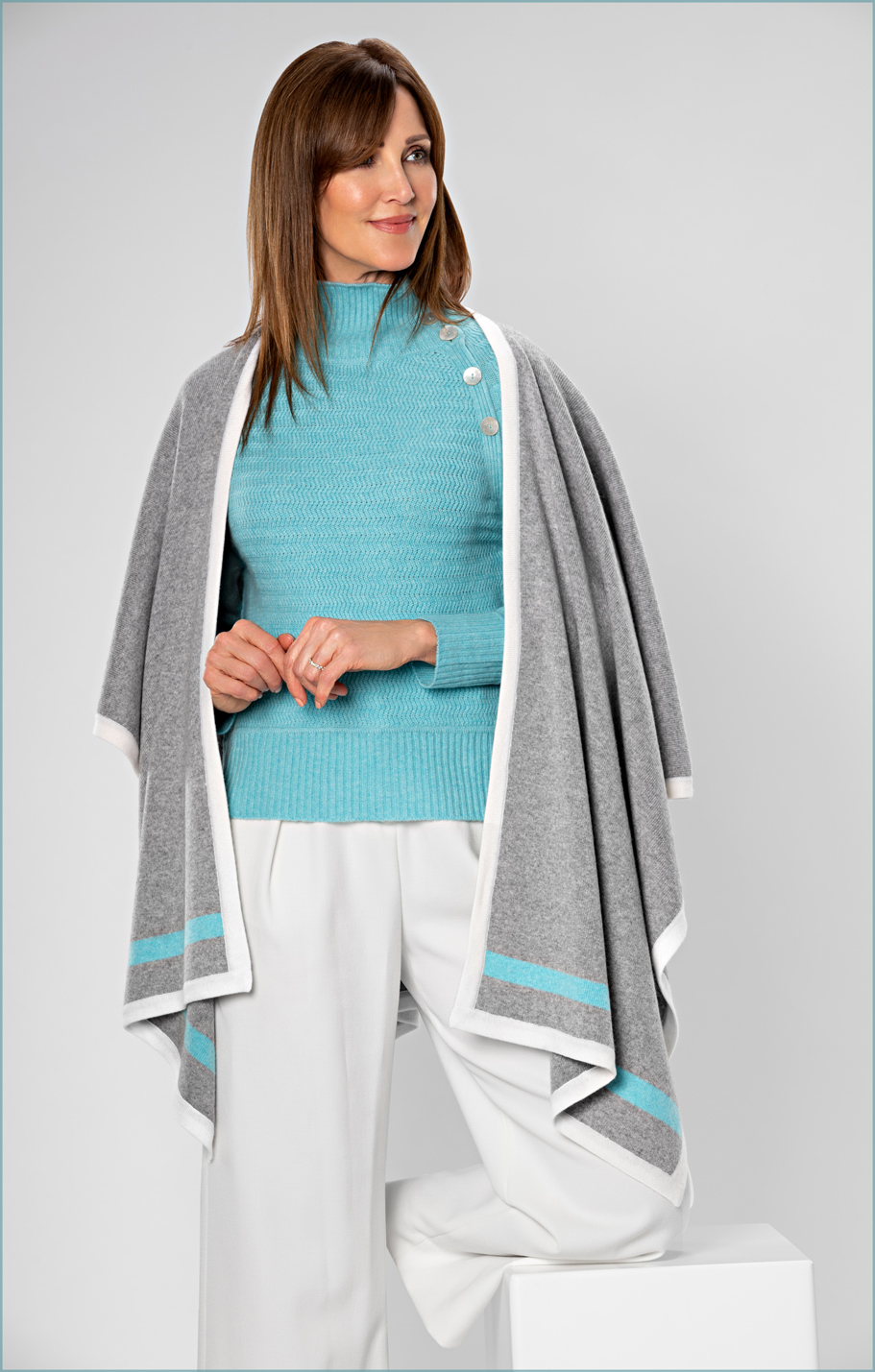 fashion photography of model in cashmere