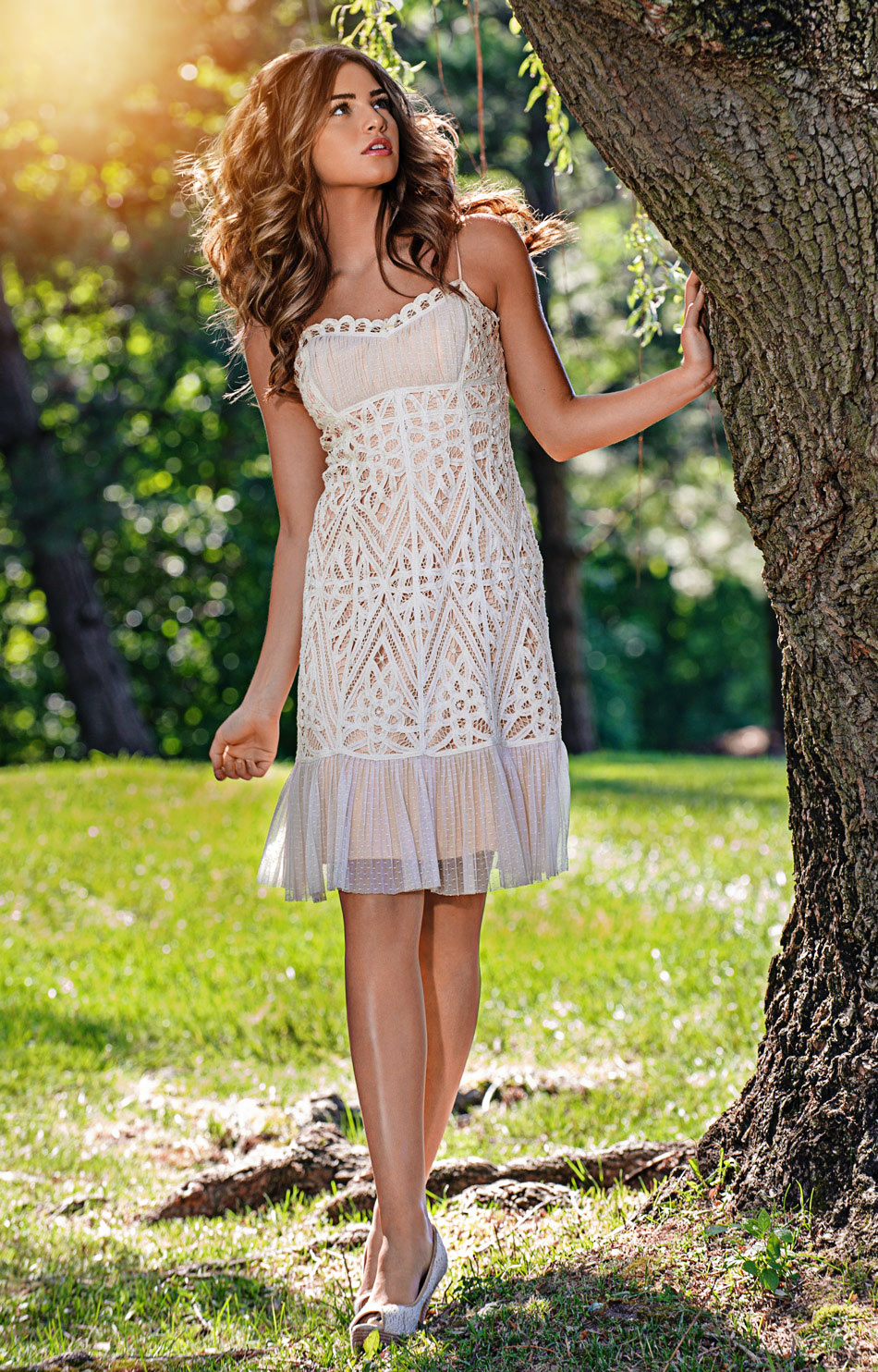fashion model in a summer dress outdoors