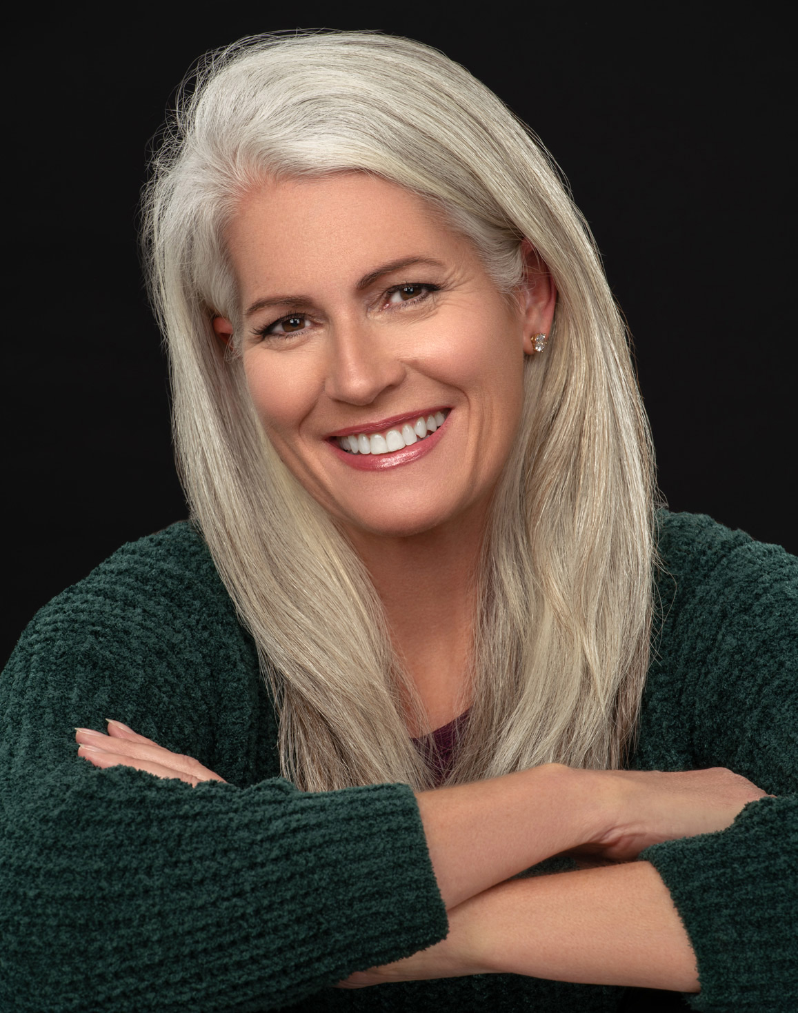 mature woman headshot portrait silver hair