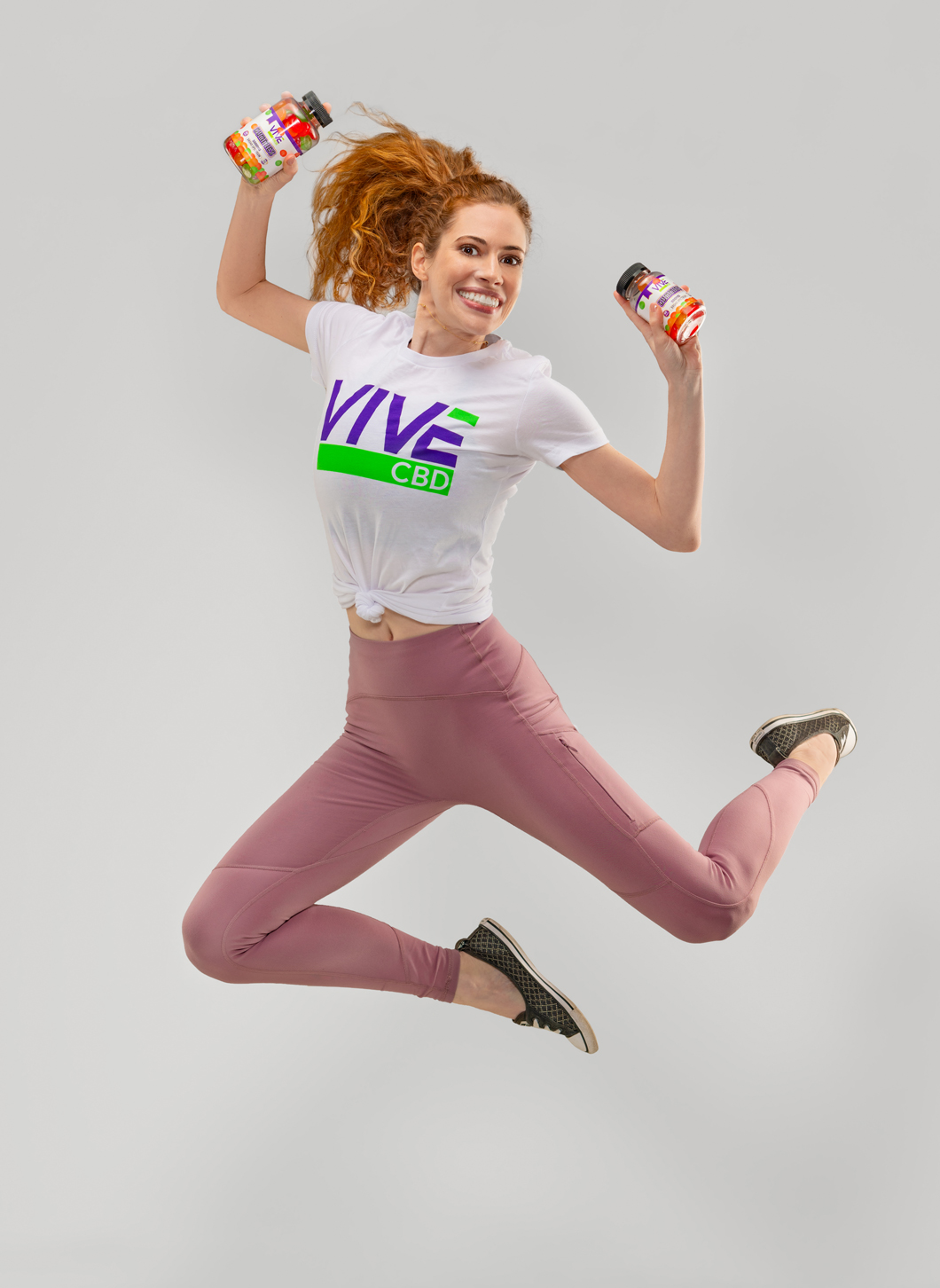 professional model jumping with health products