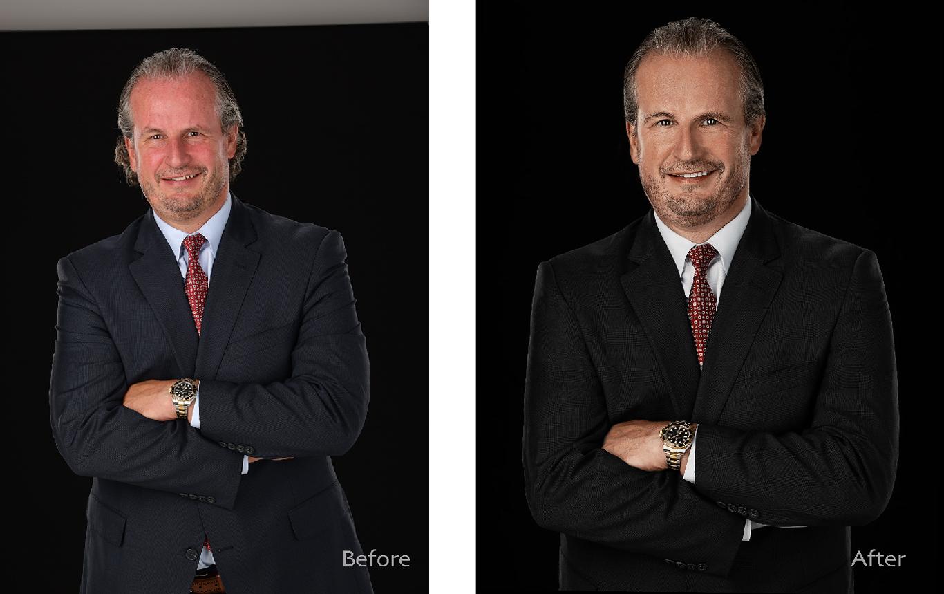 business headshot photo retouching