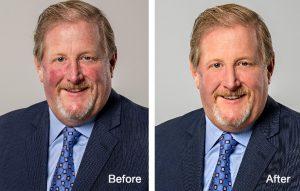 retouching of professional headshot portraits